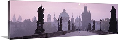 Canvas On Demand Premium Thick-Wrap Canvas Wall Art Print entitled Charles Bridge and Spires of Old Town Prague Czech Republic - Center Town Charles