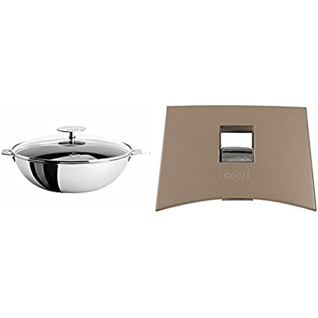 Cristel WOKT20QEKP Non Stick Wok With Domed Glass Lid Silver 1 5 Quart With Cristel Mutine Plmat Side Handle Taupe