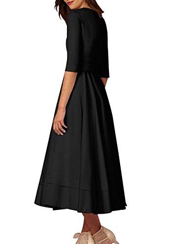 en Dama Honor Cóctel de Profundas Cuello Fiesta de Vestidos Tamaño Negro V Vestido de Mujeres OMZIN Más Banquete R8q4tt