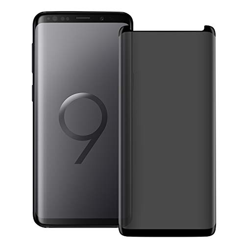 Super Protection Galaxy S9 Plus Privacy Screen Protector, [3D Curved] [Case Friendly] [Anti-Scratch] 9H Hardness Tempered Glass Film Protector,for Samsung Galaxy S9 Plus / S9 +(6.2) Black