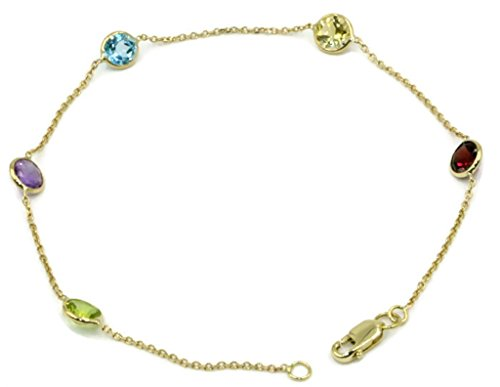(Multi-Color Gemstone Bracelet ,14k Yellow Gold Lobster Lock, 71/4