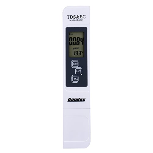 Goodes TDS Meter for Water Quality Conductivity Tester - Digital TDS EC Temperature Tester 0-9990ppm Measurement Range, 1ppm Resolution, +/-2% Readout Accuracy for Drinking Water Aquariums Swimming (Conductivity Meter Water)