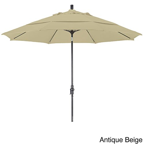 California Umbrella 11' Round Aluminum Pole Fiberglass Rib Market Umbrella, Crank Lift, Collar Tilt, Bronze Pole, Antique Beige Olefin