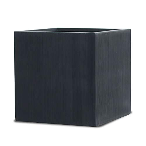 Large Square Planter Cube Shaped Indoor Outdoor Patio Flower Pot - Color: Black Matte with Vertical Lines - Size: 20 X 20 X 20 Inches