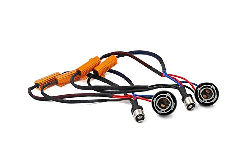 Alla Lighting BAY15 1157 2357 50W 6Ohm Error Free LED Lights Load Resistor Adapter Fix Turn Signal Flashing Fast Blinking Canbus Bypass Wiring Harness for Upgrading LED Turn Signal Blinker Light Lamps