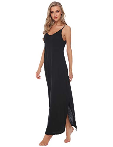 Sykooria Cotton V Neck Halter Split Sleeveless Full Slip Long Nightgown Sleepshirt Chemise Casual Dress for Women -
