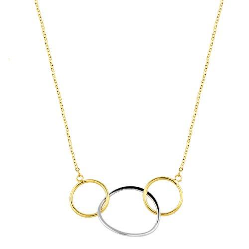 - Kooljewelry 10k Two-Tone Gold Triple Circles Eternity Necklace (18 inch)