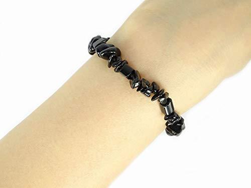 jennysun2010 Natural Black Obsidian Gemstone 5-8mm Freeformed Chip Beads Stretchy Bracelet Healing Reiki Chakra 6.5