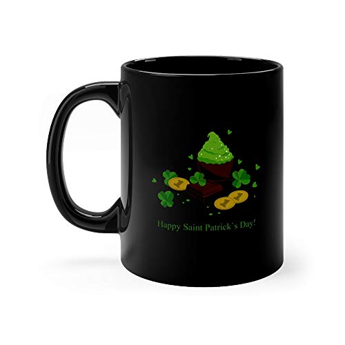 Patricks Day Background With Clover Leaves Chocolate Bars Green Cupcakes And Coins Patrics Favorite Drink Mug Cups Ceramic 11 Oz ()
