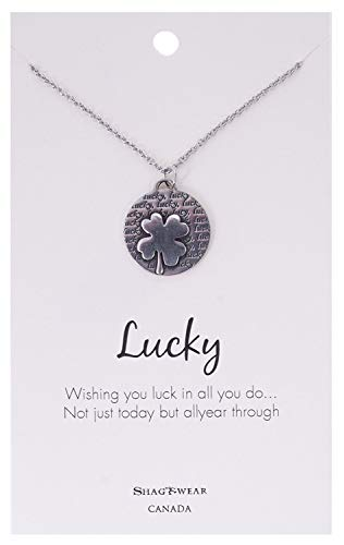 (Shag Wear Make a Wish and Luck Inspirations Quote Pendant Necklace (Four Leaf Clover Pendant))