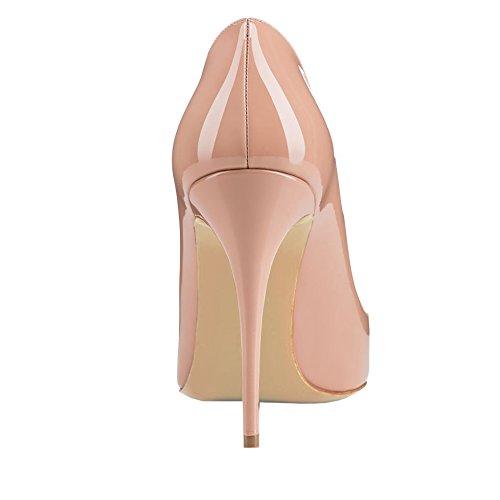 EKS Damen Zesagh Spitzschuh Sexy Slip-on 10cm Stilettos Absatz Kleid-Pumpen Nackt-Lackleder