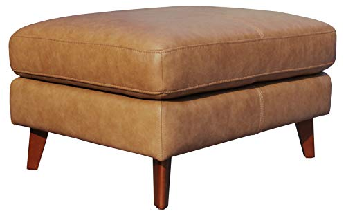 Rivet Sloane Modern Leather Ottoman with Tapered Legs, 31.9 W, Caramel