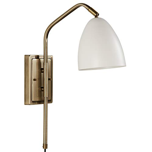 "Rivet Industrial Swiveling Wall Sconce with Bulb, 18.1""H, Matte White and Antique Brass"