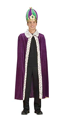 Forum Mardi Gras King Robe and Crown Set, Purple/Green/Gold, -