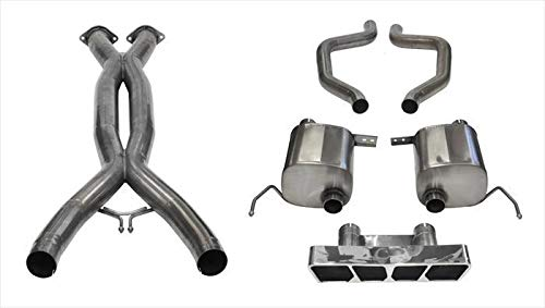 Corsa Performance 14767CB Xtreme Cat-Back Exhaust System Dual Rear Exit Incl. 3 in. X Pipe 2.75 in. Over Axle Pipe Mufflers/Clamps/Polygon Tail Light Polished Tips Xtreme Cat-Back Exhaust System ()