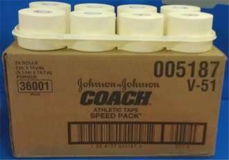 ''PT# 5187 Coach Porous Athletic Tape 2'''' x 15 yds. Case/24 BY Johnson and Johnson Consumer Products ''
