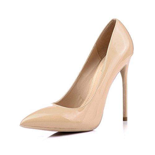 Ladies Stiletto De Hauts Femmes 8 Printemps Nude Talon Nude Talons Chaussures Pompes 5cm Mariage 12CM Astuce OL Court Chaussures 41xqdv