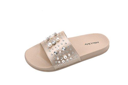 Slipper Sandy Sandal Upper with Slip Rhinestone Slide and Mila Fashion Lady Nude Women's On Pearl Silky Rqw5pFB