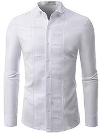 30316b17 Mens Tuxedo Shirts Non Iron Wrinkle Free Spandex Comfy Dress Shirt