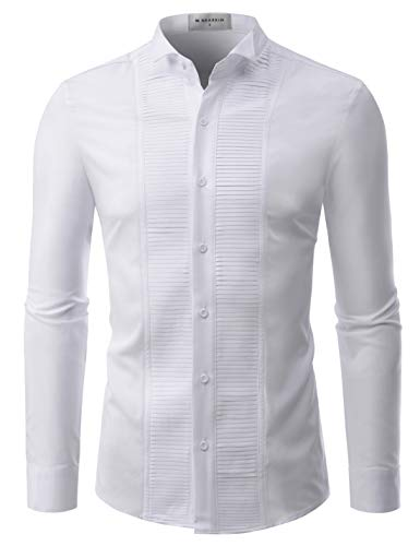 (NEARKIN (NKNKS660 Adorable Mens Wrinkle Free Stretchy Fitted Dress Shirts White US XS(Tag Size XS) )