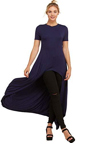 (Annabelle Women's Uneven Hemline Curved Front Slit Fashion Top Navy Large T1296K)