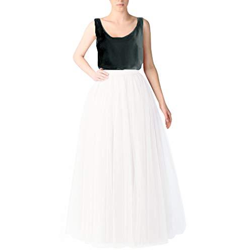 WDPL Bridal Women's Long Tulle Skirts Layered Puffy Full Length Tutu Petticoat Skirt (X-Small, White)