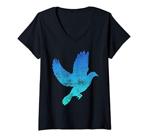 Womens Dove Bird Flying Gift Pigeon Vintage V-Neck T-Shirt
