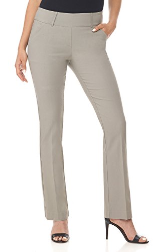 Rekucci Women's Ease in to Comfort Fit Classic Bootcut Pant w/Tummy Control (4,Silver)