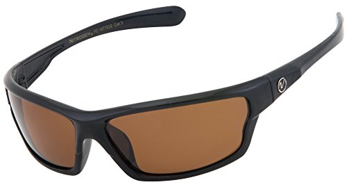 Nitrogen Men's Rectangular Sports Wrap 65mm Polarized Sunglasses (Black with Amber Lens, Amber)