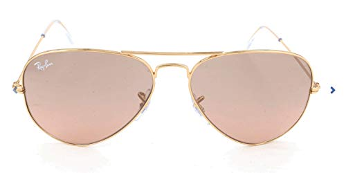 - Ray-Ban RB3025 Aviator Sunglasses, Gold/Pink Mirror Gradient, 58 mm