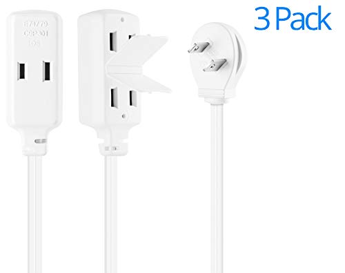 Maximm Cable 2 Foot Flat Plug Extension Cord/Wire, Multi Outlet - Angled Plug Extension Cord with Safety Water Proof Cover - 3 Pack - White - 2' Cord Cover