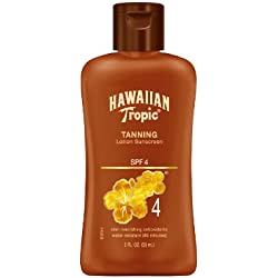 Hawiian Tropic Dark Tanning Lotion SPF4 Travel Size, 2-Fluid Ounce (Pack of 4)