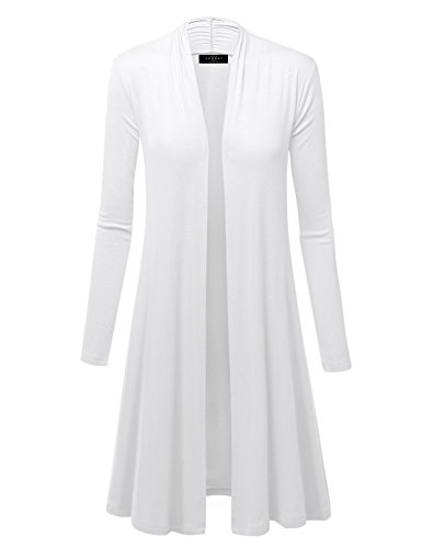 Made By Johnny WSK1048 Womens Solid Long Sleeve Open Front Long Cardigan M White - Long Open Cardigan