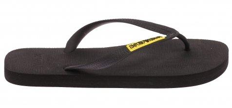 Emporio Armani Men's Logo Flip Flop, Black 44 M (Flip Flops Armani Exchange Men)