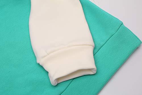 Yidarton Women's Color Block Long Sleeve T Shirt Casual Round Neck Tunic Tops Hoodies(Green,M) by Yidarton (Image #5)