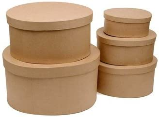6 Boxes Factory Direct Craft Unfinished Round Paper Mache Boxes