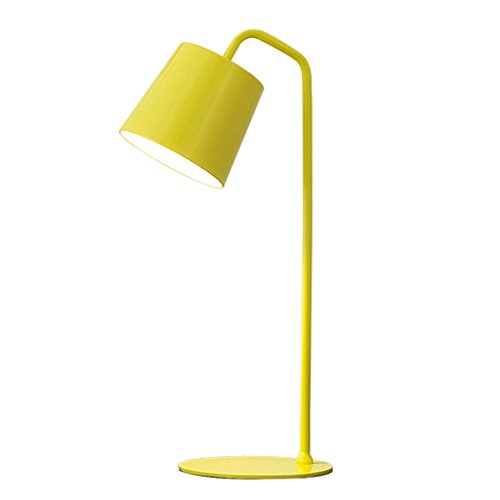 Wsxxn Simple fashion dormitory bedroom bedside lamp simple personality eye care desk student children learn to read desk lamp E14 lamp head color optional (Color : Yellow) by Wsxxn