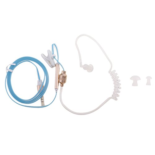 Dovewill Anti-Radiation Air Tube Stereo Wire Cell Phone Headsets Monaural In Ear MIC Headphones with Earbud for MP3 Tablet PC Blue