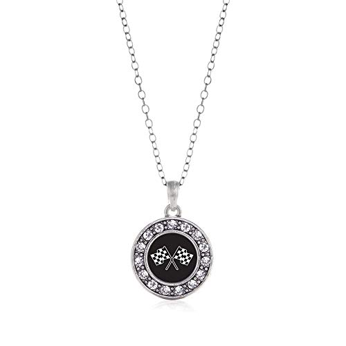 Inspired Silver - Racing Flags Charm Necklace for Women - Silver Circle Charm 18 Inch Necklace with Cubic Zirconia Jewelry