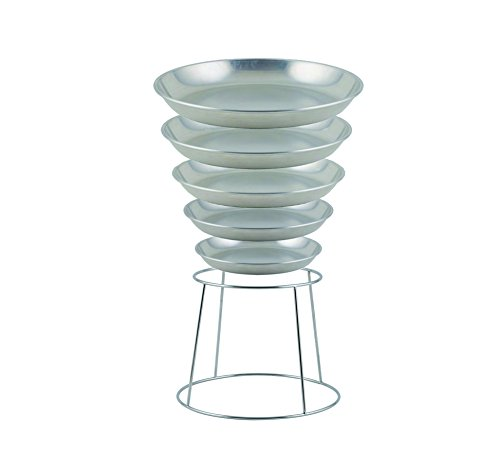 Winco ASFT-12 & SFR-7, 75-Ounce Brushed Aluminum Round Serving Seafood Platter Tray with Display Rack Holder (75 -