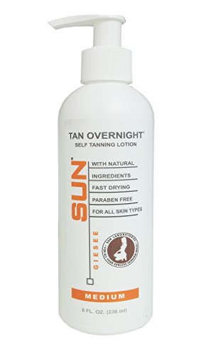 Self Tanning Lotion Tan Overnight - Medium (8 oz) bY SUN LABORATORIES, Dye-Free Natural Sunless Self Tanner for Bronzing and Golden Tan All Year Long