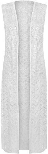 WearAll Women's Floral Lace Open Long Sleeveless Cardigan - White - US 22-24 (UK 26-28)