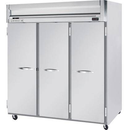 Beverage-Air HR3-1S 78'' Horizon Series Three Section Solid Door Reach-In Refrigerator 74 cu.ft. capacity Stainless Steel Front Gray Painted Sides Aluminum