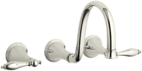 KOHLER K-T343-4M-SN Finial Traditional Wall-Mount Lavatory Faucet Trim with Lever Handles and 9