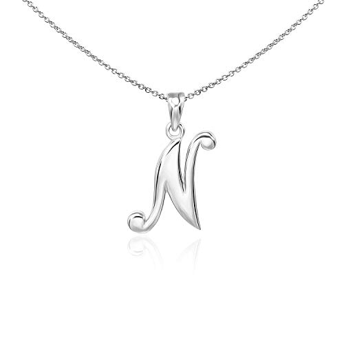 (Sea of Ice Sterling Silver Initial Alphabet Letters N Pendant Necklace, 18 inch)