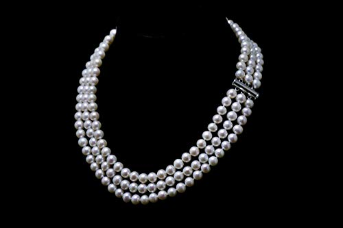 Triple Strand Pearl Necklace 7mm - 7.5mm Genuine Cultured Freshwater Pearls (18 Inches)
