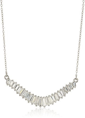Sterling Silver Baguette Cubic Zirconia Bar Necklace, 16