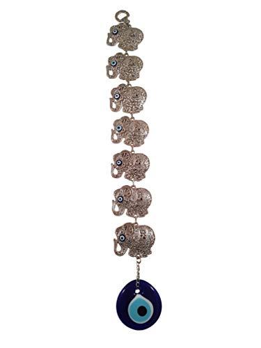 Bead Global Turkish Glass Evil Eye Seven Elephants Home Protection Charm - Seven Elephants Hanging Ornaments Wall Decor (Silver ()