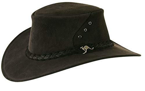 (The Alice Mossback Leather Cowboy Hat from Down Under with 3- Strand Braid Hatband Black)