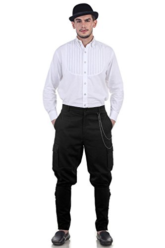 Steampunk Victorian Costume Airship Pants Trousers -Black (Steampunk Pants Mens)
